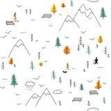 Wektorowy bezszwowy wzór z mężczyzna odprowadzeniem w górach Obrazy Royalty Free