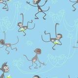 Wektorowy bezszwowy wzór z małpami Zdjęcia Royalty Free