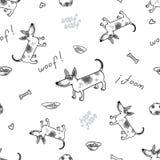 Wektorowy bezszwowy wzór z śmiesznym psem terier jack Russell Royalty Ilustracja