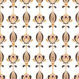 Wektorowy bezszwowy wzór z minimalistic północnymi kwiatami w retro stylu royalty ilustracja