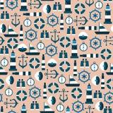 Wektorowy Bezszwowy wzór z Morskimi Graficznymi elementami Zdjęcia Royalty Free