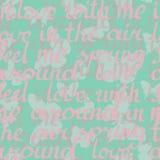 Wektorowy bezszwowy wzór z motylami i romantycznym literowaniem Ilustracja Wektor
