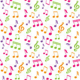 Wektorowy bezszwowy wzór z muzycznymi notatkami Zdjęcia Royalty Free