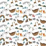 Wektorowy bezszwowy wzór z Noah ` s arki pojęciem Zdjęcia Stock