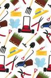 Wektorowy bezszwowy wzór z ogrodnictw narzędziami Zdjęcia Royalty Free