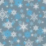Wektorowy bezszwowy wzór z płatkami śniegu na popielatym tle ilustracji