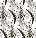 Wektorowy Bezszwowy wzór z Patroszonymi kwiatami i liśćmi Obraz Stock