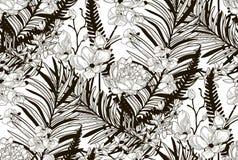 Wektorowy Bezszwowy wzór z Patroszonymi kwiatami i liśćmi Zdjęcia Royalty Free