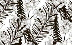 Wektorowy Bezszwowy wzór z Patroszonymi kwiatami i liśćmi Fotografia Stock