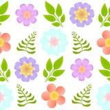 Wektorowy bezszwowy wzór z pięknymi kwiatami i liśćmi na przejrzystym tle obrazy stock