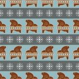 Wektorowy bezszwowy wzór z piernikowymi caklami i płatkami śniegu Obrazy Royalty Free