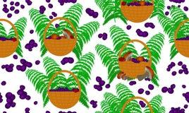 Wektorowy bezszwowy wzór z prezentami lasy: kosze pełno pieczarki, czarne jagody i paproć liście royalty ilustracja