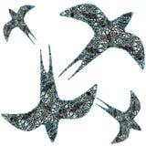 Wektorowy bezszwowy wzór z ptakami Zdjęcie Royalty Free