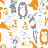 Wektorowy Bezszwowy wzór z ptakami i jajkami Obrazy Stock