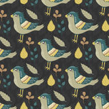 Wektorowy bezszwowy wzór z ptakami i liśćmi ilustracja wektor