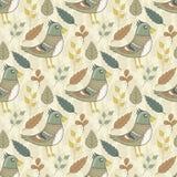 Wektorowy bezszwowy wzór z ptakami i liśćmi ilustracji