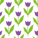 Wektorowy bezszwowy wzór z purpurowymi tulipanami royalty ilustracja