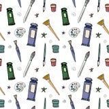 Wektorowy bezszwowy wzór z różnymi rysunkowymi narzędziami ilustracji
