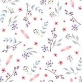 Wektorowy bezszwowy wzór z różowymi akwarela kwiatami ilustracji