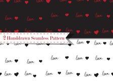 Wektorowy bezszwowy wzór z ręcznie pisany miłości słowem, sercami i Romantyczny projekt royalty ilustracja