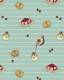 Wektorowy Bezszwowy wzór z ręka Rysującą rocznik piekarnią Zdjęcia Royalty Free
