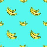 Wektorowy bezszwowy wzór z ręka rysującymi bananami na błękitnym tle Zdjęcia Stock