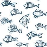 Wektorowy bezszwowy wzór z ręki rysować rybami ilustracja wektor
