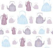 Wektorowy bezszwowy wzór z roczników teapots i czajnikami fotografia royalty free