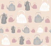 Wektorowy bezszwowy wzór z roczników teapots i czajnikami obrazy stock