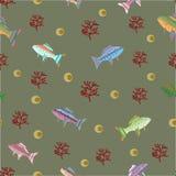 Wektorowy bezszwowy wzór z rybami i koralami ilustracja wektor
