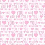 Wektorowy bezszwowy wzór z słowami kocham ciebie na białym tle Zdjęcie Royalty Free