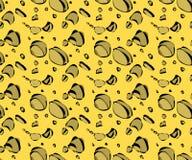 Wektorowy bezszwowy wzór z ser dziurami w pierwotnym sposobie ilustracja wektor