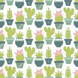 Wektorowy bezszwowy wzór z sukulentów kaktusami w po i roślinami Zdjęcia Stock