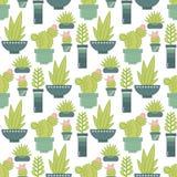 Wektorowy bezszwowy wzór z sukulentów kaktusami w po i roślinami royalty ilustracja