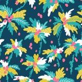 Wektorowy bezszwowy wzór z sylwetek tropikalnymi kokosowymi drzewkami palmowymi Lata wielostrzałowy tło Obrazy Stock