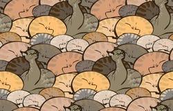 Wektorowy bezszwowy wzór z sypialnymi kotami royalty ilustracja