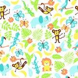 Wektorowy bezszwowy wzór z tropikalnymi zwierzętami Obrazy Royalty Free