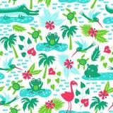 Wektorowy bezszwowy wzór z tropikalnymi zwierzętami Obraz Royalty Free
