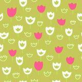 Wektorowy bezszwowy wzór z tulipanami i trawą motyla opadowy kwiecisty kwiatów serca wzoru kolor żółty Zdjęcia Royalty Free
