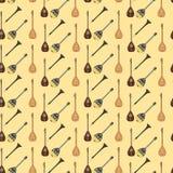 Wektorowy bezszwowy wzór z tureckimi instrumentami muzycznymi ilustracji