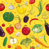 Wektorowy bezszwowy wzór z warzywami i owoc Obrazy Stock