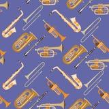 Wektorowy bezszwowy wzór z wiatrowymi instrumentami muzycznymi ilustracji