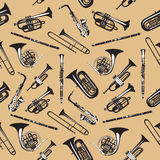 Wektorowy bezszwowy wzór z wiatrowymi instrumentami muzycznymi Zdjęcia Stock