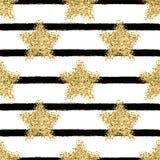 Wektorowy bezszwowy wzór z złocistymi błyskotliwość gwiazdami Zdjęcia Royalty Free