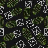 Wektorowy bezszwowy wzór z zielonym kaktusem Obraz Stock