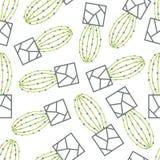 Wektorowy bezszwowy wzór z zielonym kaktusem Zdjęcia Stock
