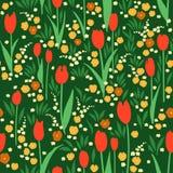 Wektorowy bezszwowy wzór, zielona lato łąka z kwiatami ilustracji