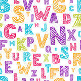 Wektorowy bezszwowy wzór z koloru nakreślenia ręka rysującym abecadłem Porysowany i klujący się list Obrazy Stock