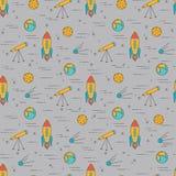 Wektorowy bezszwowy wzór z kreskowymi ikonami o astronautycznym życiu Astronomii tło dla strony internetowej lub pokrywa dla ksią Zdjęcie Royalty Free