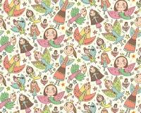 Wektorowy bezszwowy wzór z ślicznymi czarodziejkami w children rysunku Fotografia Royalty Free
